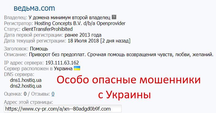 Сетка мошеннических сайтов:  ведьма.com, ворожея.com и гадания.com