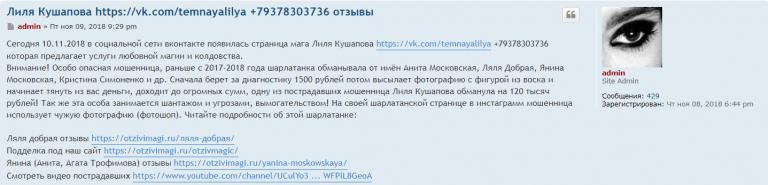 Лиля Кашапова (vk.com/temnayalilya) – шарлатанка
